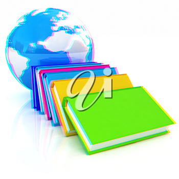 colorful real books and Earth. Anaglyph. View with red/cyan glasses to see in 3D. 3D illustration