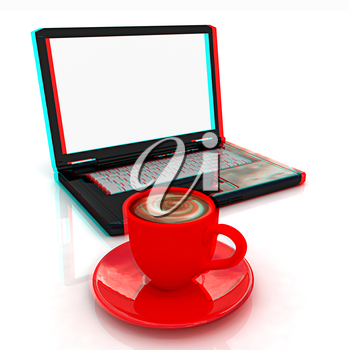 3d cup and a laptop on a white background. 3D illustration. Anaglyph. View with red/cyan glasses to see in 3D.
