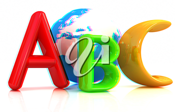 abc text and earth on white background. 3D illustration. Anaglyph. View with red/cyan glasses to see in 3D.