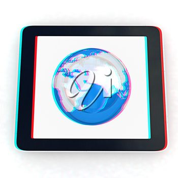 Phone and earch on white background.Global internet concept on a white background. 3D illustration. Anaglyph. View with red/cyan glasses to see in 3D.