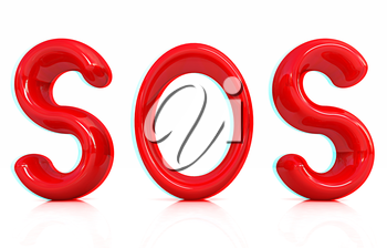 3d red text sos on a white background. 3D illustration. Anaglyph. View with red/cyan glasses to see in 3D.