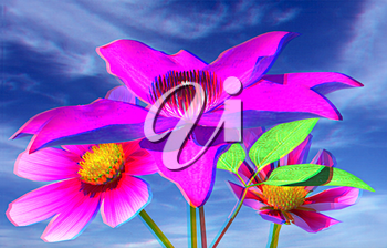 Beautiful Cosmos Flower against the sky. 3D illustration. Anaglyph. View with red/cyan glasses to see in 3D.