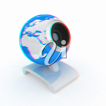 Web-cam for earth. Global on line concept on a white background. 3D illustration. Anaglyph. View with red/cyan glasses to see in 3D.