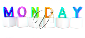 Colorful 3d letters Monday on white cubes on a white background. 3D illustration. Anaglyph. View with red/cyan glasses to see in 3D.