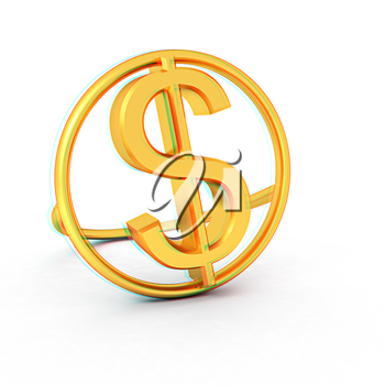 3d text gold dollar icon on a white background. 3D illustration. Anaglyph. View with red/cyan glasses to see in 3D.