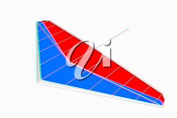 Hang glider isolated on a white background. 3D illustration. Anaglyph. View with red/cyan glasses to see in 3D.