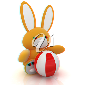 soft toy hare and colorful aquatic ball on a white background. 3D illustration. Anaglyph. View with red/cyan glasses to see in 3D.