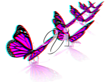 Butterfly on a white background. 3D illustration. Anaglyph. View with red/cyan glasses to see in 3D.