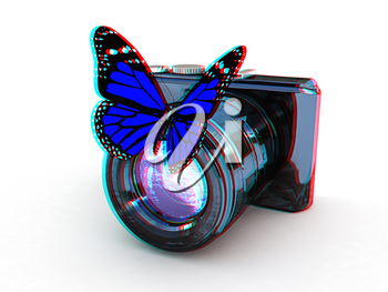 3d illustration of photographic camera and butterfly on white background. 3D illustration. Anaglyph. View with red/cyan glasses to see in 3D.
