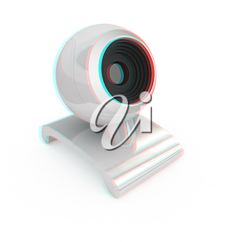 Web-cam on a white background. 3D illustration. Anaglyph. View with red/cyan glasses to see in 3D.