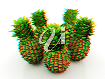 pineapples on a white background. 3D illustration. Anaglyph. View with red/cyan glasses to see in 3D.