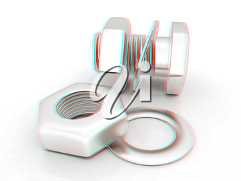 stainless steel bolts with a nuts and washers on white. 3D illustration. Anaglyph. View with red/cyan glasses to see in 3D.