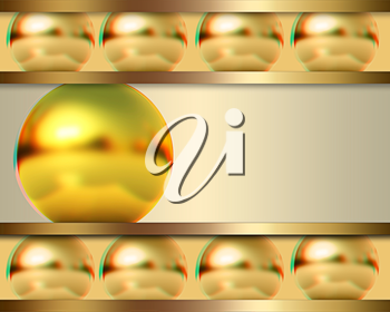 Abstract template with golden ball. 3D illustration. Anaglyph. View with red/cyan glasses to see in 3D.