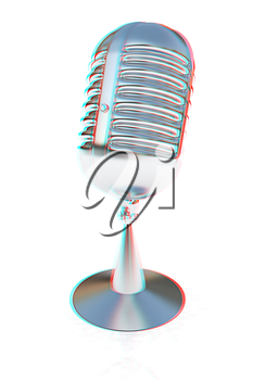 metal microphone on a white background. 3D illustration. Anaglyph. View with red/cyan glasses to see in 3D.