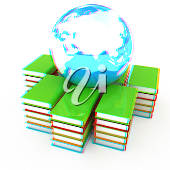 book and earth on a white background. 3D illustration. Anaglyph. View with red/cyan glasses to see in 3D.