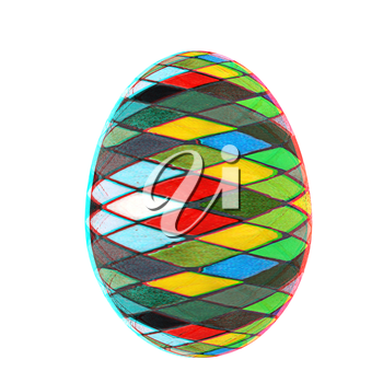 Easter Egg with colored strokes Isolated on white background. 3d. 3D illustration. Anaglyph. View with red/cyan glasses to see in 3D.