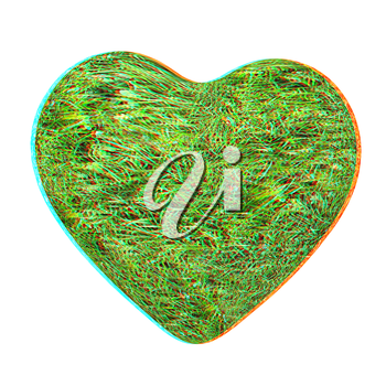 3d grass heart isolated on white background. 3D illustration. Anaglyph. View with red/cyan glasses to see in 3D.