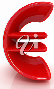 3d illustration of text 'euro' on a white background. Anaglyph. View with red/cyan glasses to see in 3D. 3D illustration