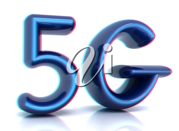 5g internet network. 3d text. 3D illustration. Anaglyph. View with red/cyan glasses to see in 3D.