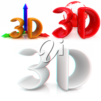 3d text on a white background. Anaglyph. View with red/cyan glasses to see in 3D. 3D illustration