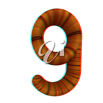 Wooden number 9- nine on a white background. 3D illustration. Anaglyph. View with red/cyan glasses to see in 3D.