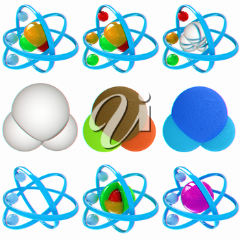 Set of 3d illustration of a leather water molecule isolated on white background. 3D illustration. Anaglyph. View with red/cyan glasses to see in 3D.