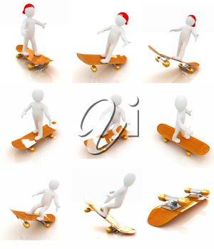 Set of 3d white person with a skate and a cap. 3d image on a white background. 3D illustration. Anaglyph. View with red/cyan glasses to see in 3D.