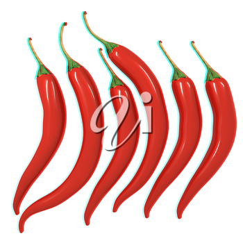 Hot chilli pepper set isolated on white background. 3D illustration. Anaglyph. View with red/cyan glasses to see in 3D.