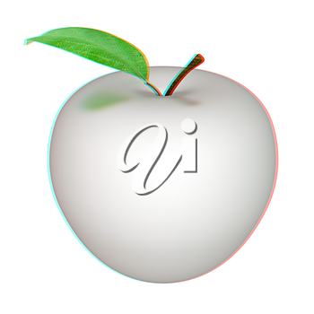 Metall apple isolated on white background . 3D illustration. Anaglyph. View with red/cyan glasses to see in 3D.