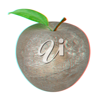 apple made of stone. 3D illustration. Anaglyph. View with red/cyan glasses to see in 3D.