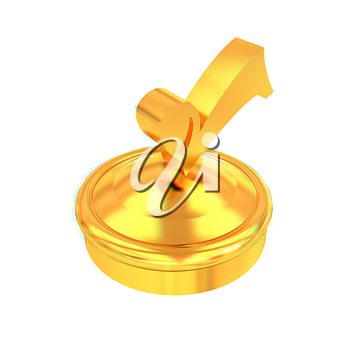 illustration of gold checkmark on isolated background . 3D illustration. Anaglyph. View with red/cyan glasses to see in 3D.