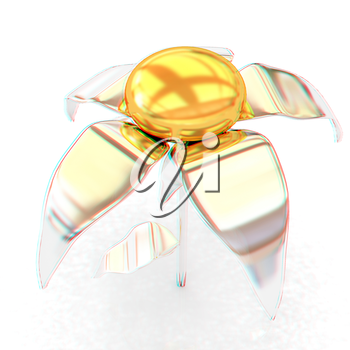 Chrome flower with a gold head . 3D illustration. Anaglyph. View with red/cyan glasses to see in 3D.