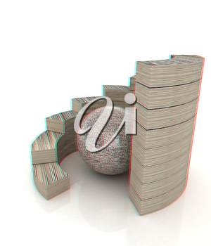 Abstract stone structure with ball in the center . 3D illustration. Anaglyph. View with red/cyan glasses to see in 3D.