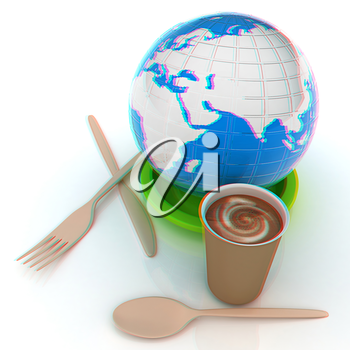 Coffe in fast-food disposable tableware and earth. 3D illustration. Anaglyph. View with red/cyan glasses to see in 3D.