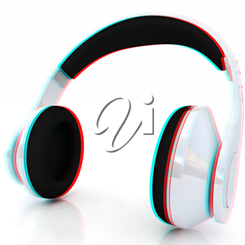 headphones on a white background. 3D illustration. Anaglyph. View with red/cyan glasses to see in 3D.