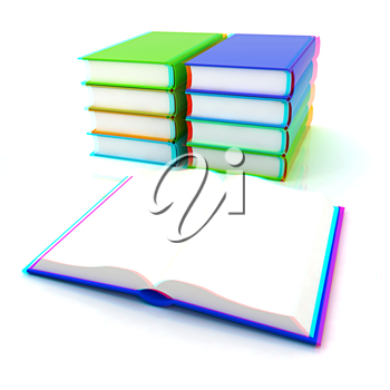 colorful real books on white background. 3D illustration. Anaglyph. View with red/cyan glasses to see in 3D.