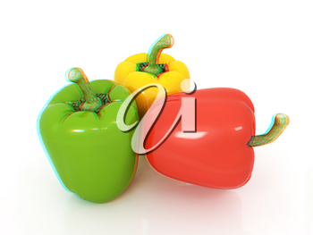 Bell peppers (bulgarian pepper) on a white background. 3D illustration. Anaglyph. View with red/cyan glasses to see in 3D.