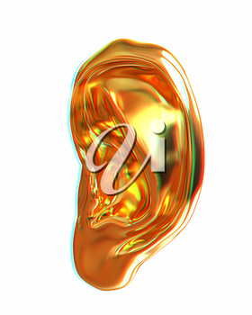 Ear gold 3d render isolated on white background . 3D illustration. Anaglyph. View with red/cyan glasses to see in 3D.