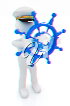 Sailor with steering wheel and earth. Trip around the world concept on a white background. 3D illustration. Anaglyph. View with red/cyan glasses to see in 3D.