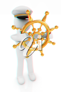 Sailor with gold steering wheel and earth. Trip around the world concept on a white background. 3D illustration. Anaglyph. View with red/cyan glasses to see in 3D.