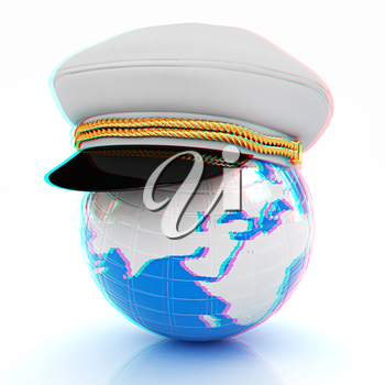 Marine cap on Earth on a white background. 3D illustration. Anaglyph. View with red/cyan glasses to see in 3D.