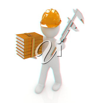 3d man engineer in hard hat with vernier caliper and best technical educational literature on a white background. 3D illustration. Anaglyph. View with red/cyan glasses to see in 3D.