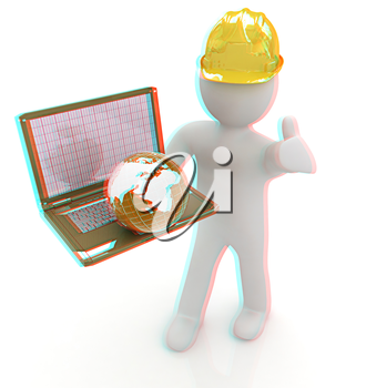 3D small people - an international engineer with the laptop and earth on a white background. 3D illustration. Anaglyph. View with red/cyan glasses to see in 3D.
