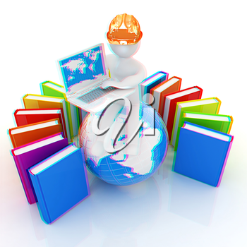 3d man in hard hat sitting on earth and working at his laptop and books around his on a white background. 3D illustration. Anaglyph. View with red/cyan glasses to see in 3D.
