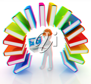 Colorful books like the rainbow and 3d man in a hard hat with laptop on a white background. 3D illustration. Anaglyph. View with red/cyan glasses to see in 3D.