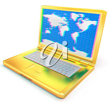 Gold laptop with world map on screen on a white background. 3D illustration. Anaglyph. View with red/cyan glasses to see in 3D.