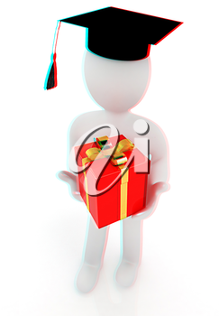 3d man in graduation hat with gift. 3D illustration. Anaglyph. View with red/cyan glasses to see in 3D.