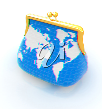 Purse Earth. On-line concept on a white background. 3D illustration. Anaglyph. View with red/cyan glasses to see in 3D.