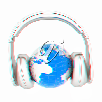 abstract 3d illustration of earth listening music . 3D illustration. Anaglyph. View with red/cyan glasses to see in 3D.