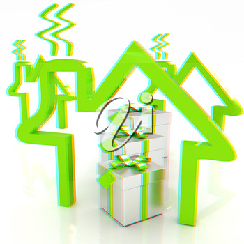 House icons and gifts. 3D illustration. Anaglyph. View with red/cyan glasses to see in 3D.